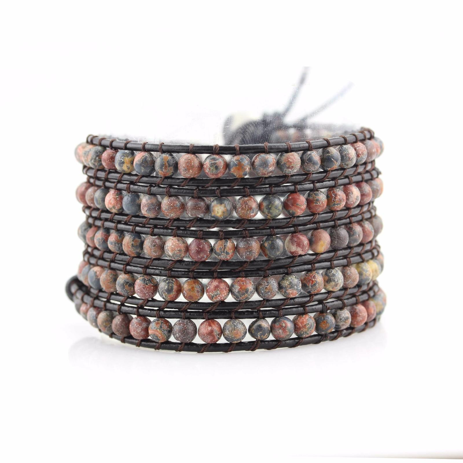 TTT Jewelry bead natural japanese womens cuff bracelet leather