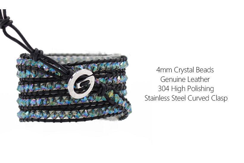 swarovski crystal cuff bracelet handmade bracelet OEM crystal bead bracelets TTT Jewelry