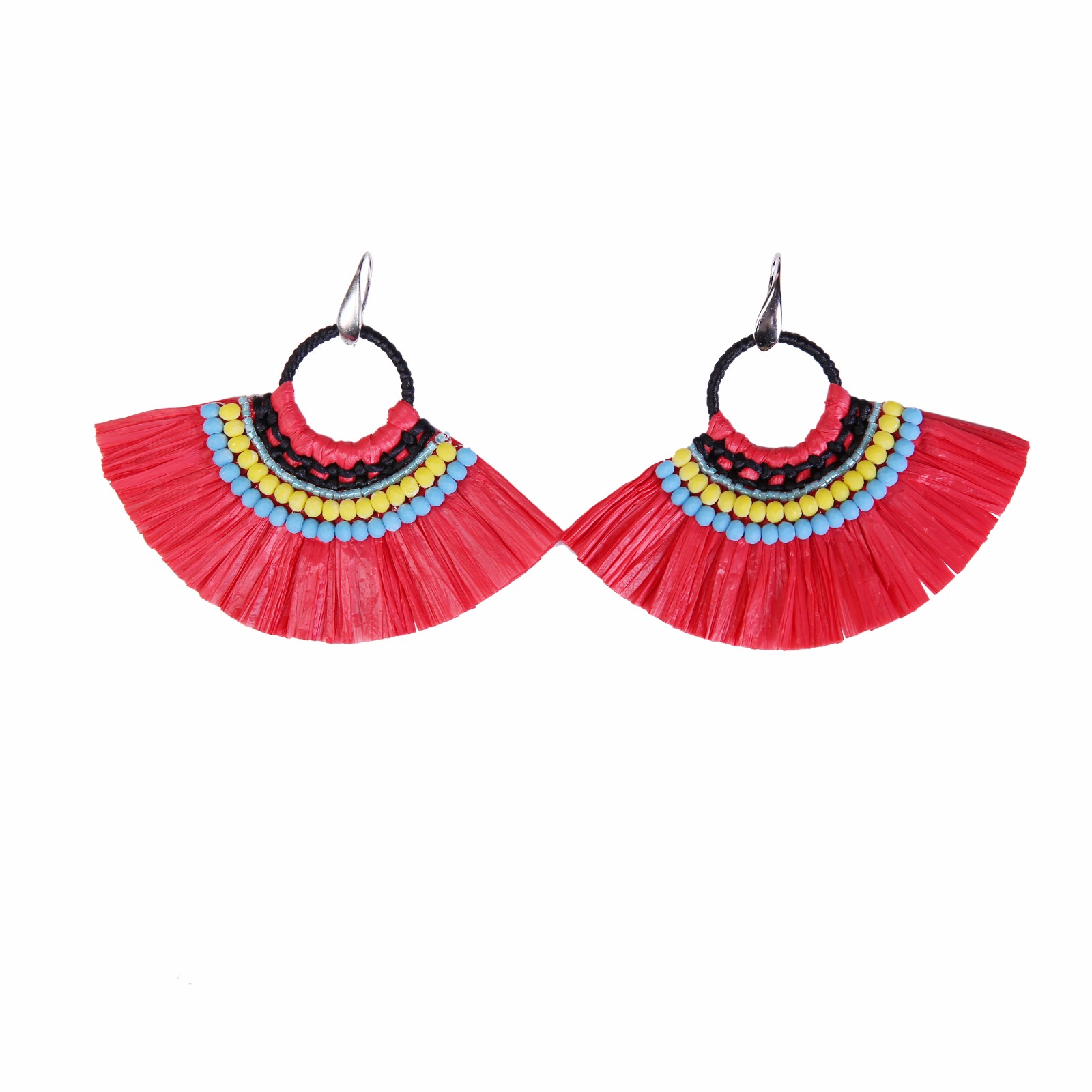 Fan-shaped Red Color Raffia Earrings with Bulk Raffia Grass