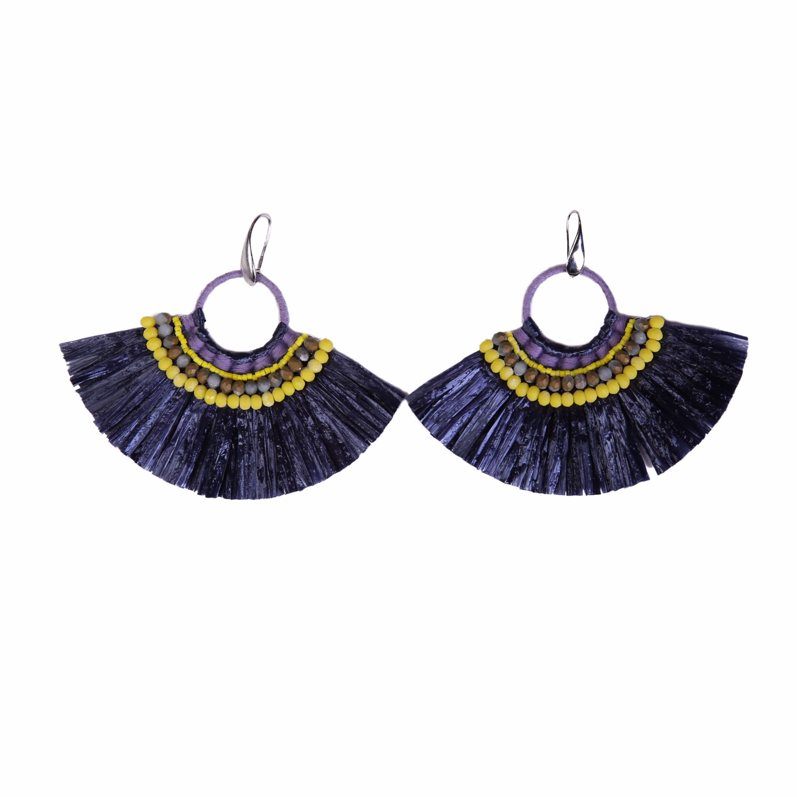 Fan-shaped Black color Raffia Earrings with Bulk Raffia Grass