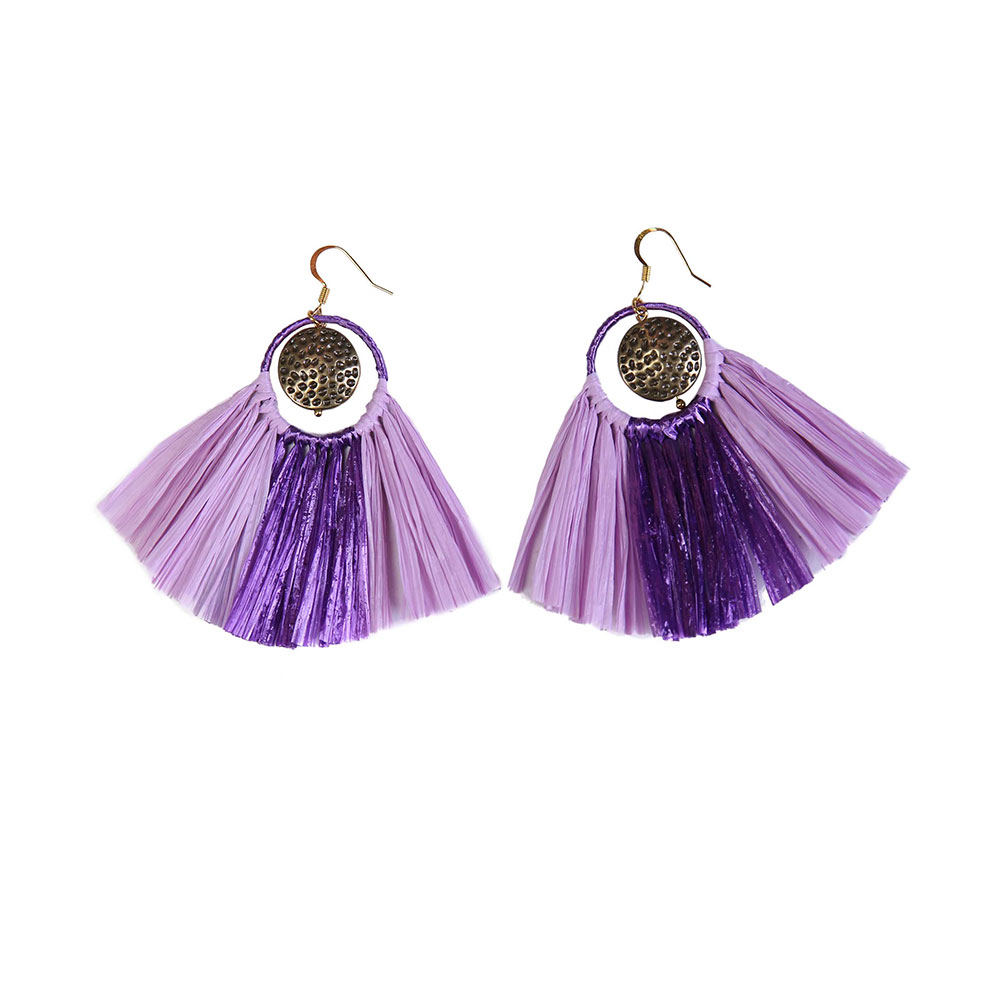 Handmade earrings Purple Style Raffia Statement Earrings with Metal Parts