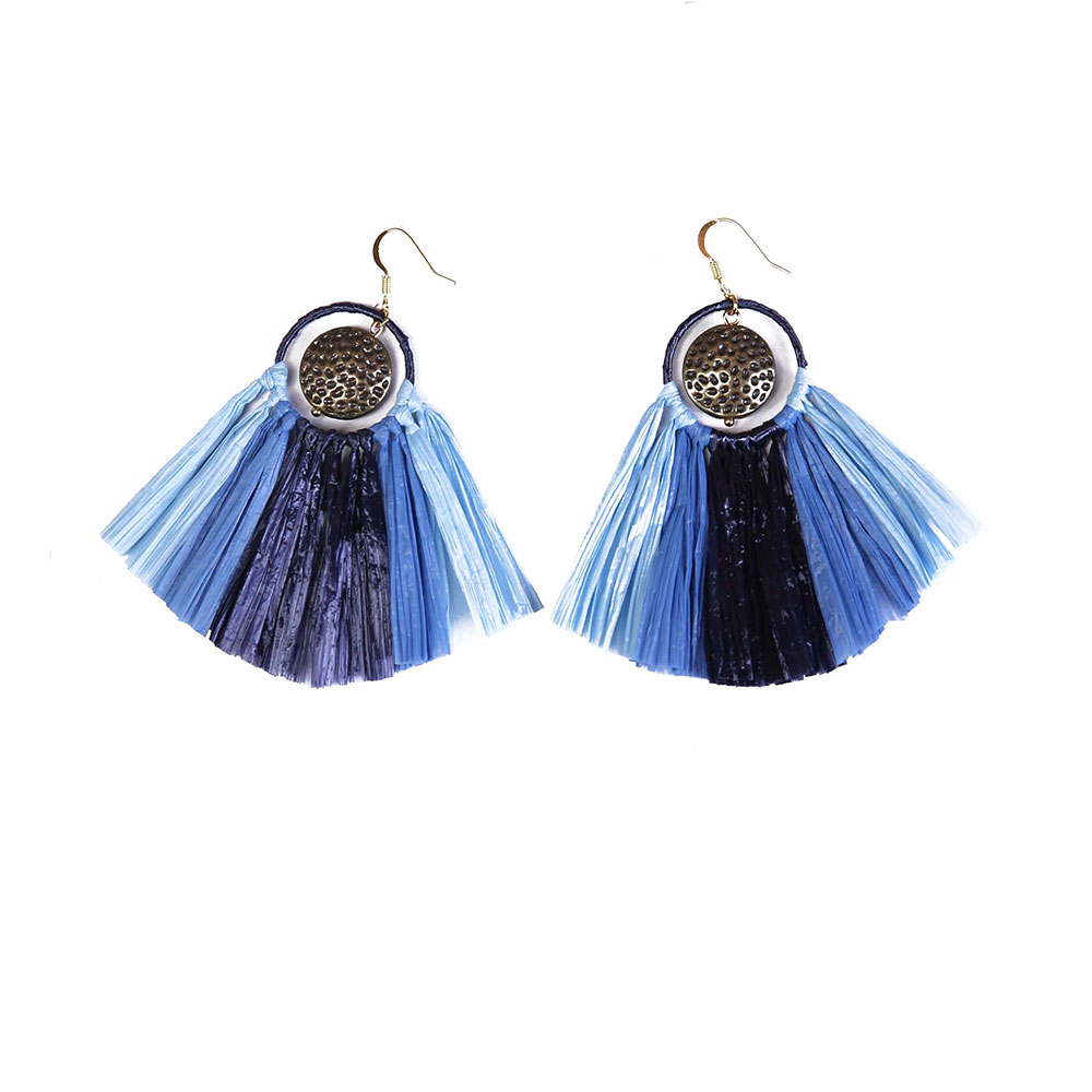 Handmade earrings Blue Style Raffia Statement Earrings with Metal Parts