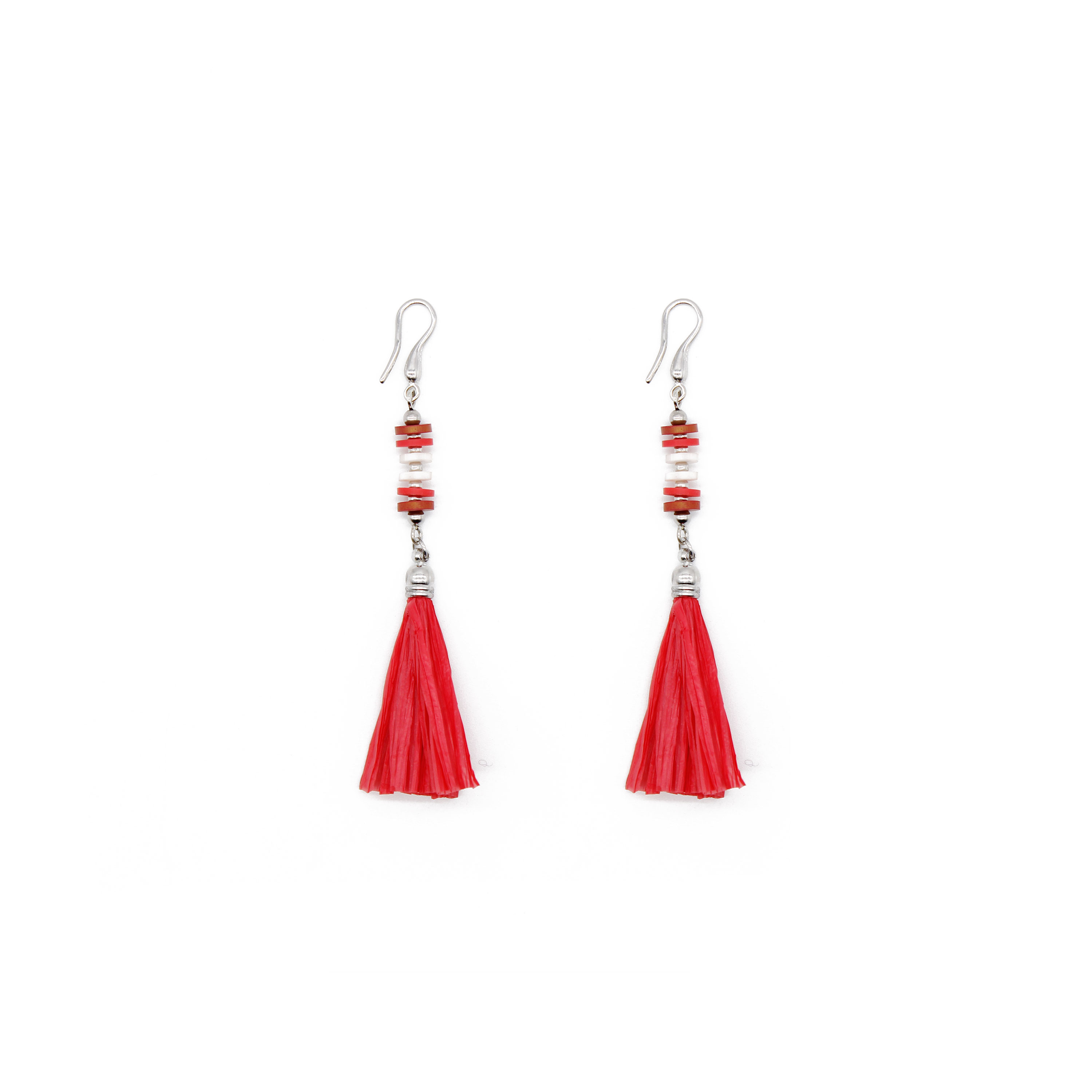 Red Style Raffia Earrings with Copper Parts and Ring