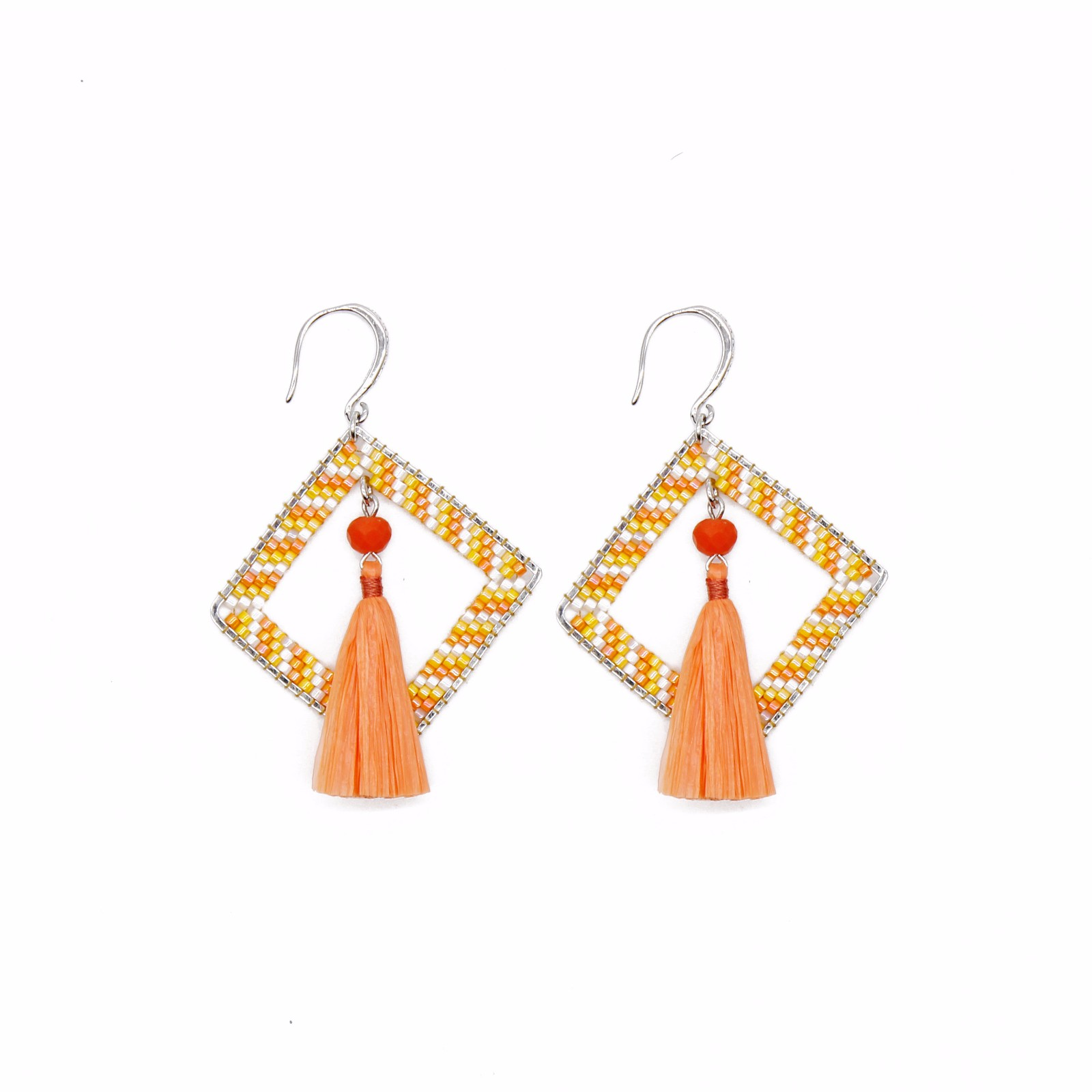 jewelry supplier Orange Style Raffia Statement Earrings with Miyuki Beads