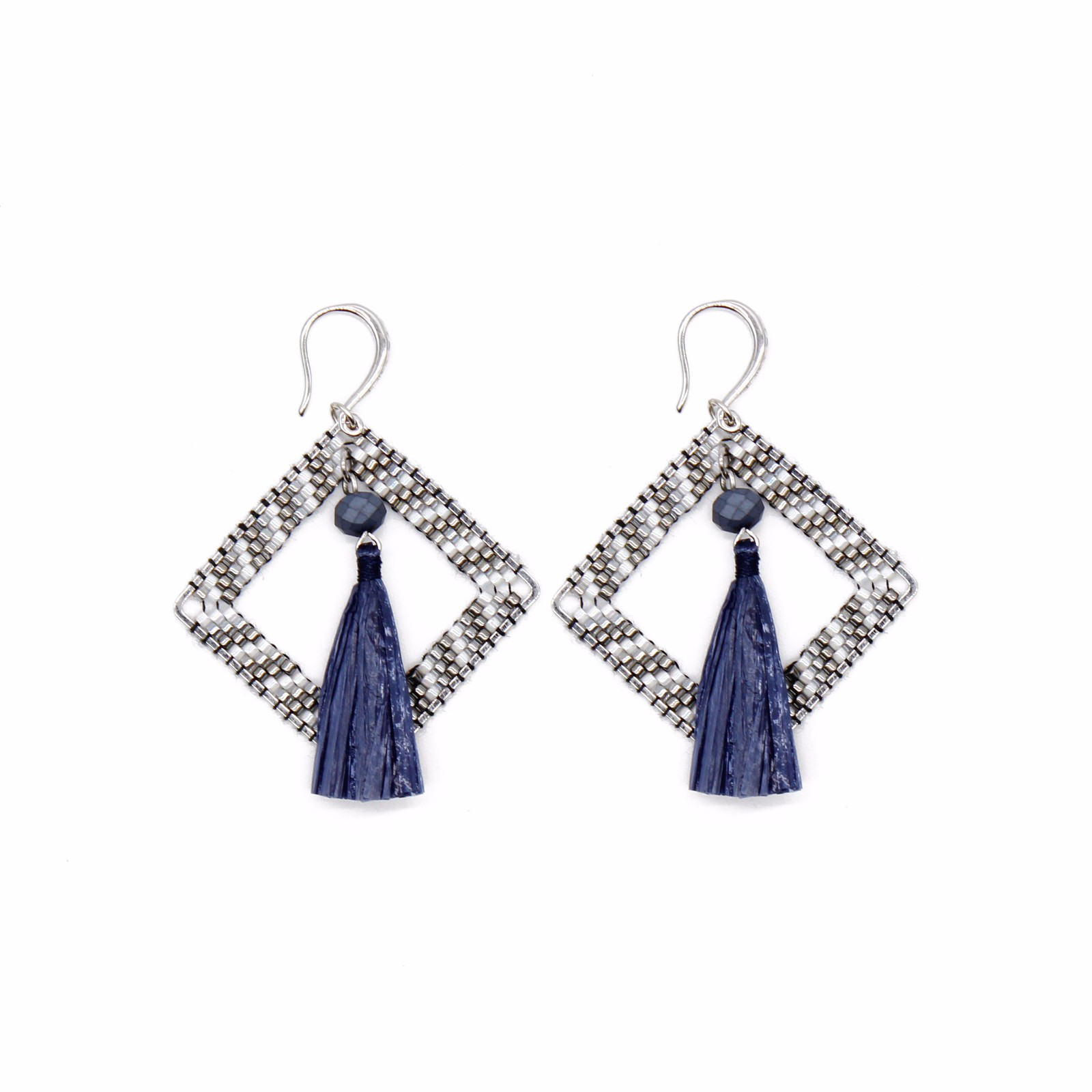 jewelry vendor Navy Blue Raffia Statement Earrings with Miyuki Beads
