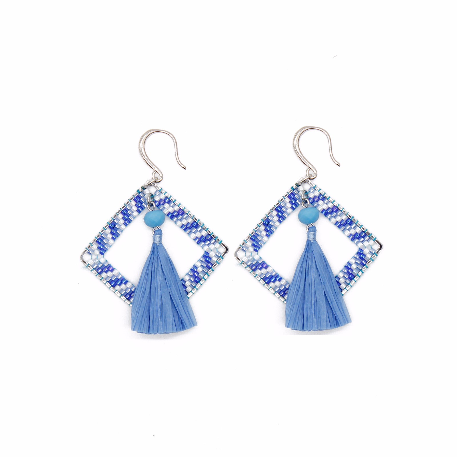 wholesale jewelry Blue Style Raffia Statement Earrings with Miyuki Beads