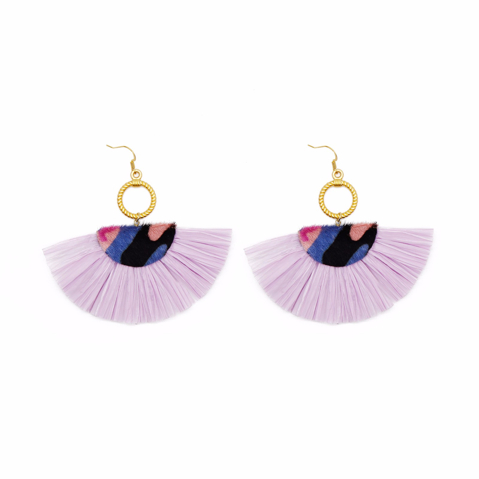 Wholesale jewelry Fan-shaped purple color raffia cowhide statement earrings with copper stud
