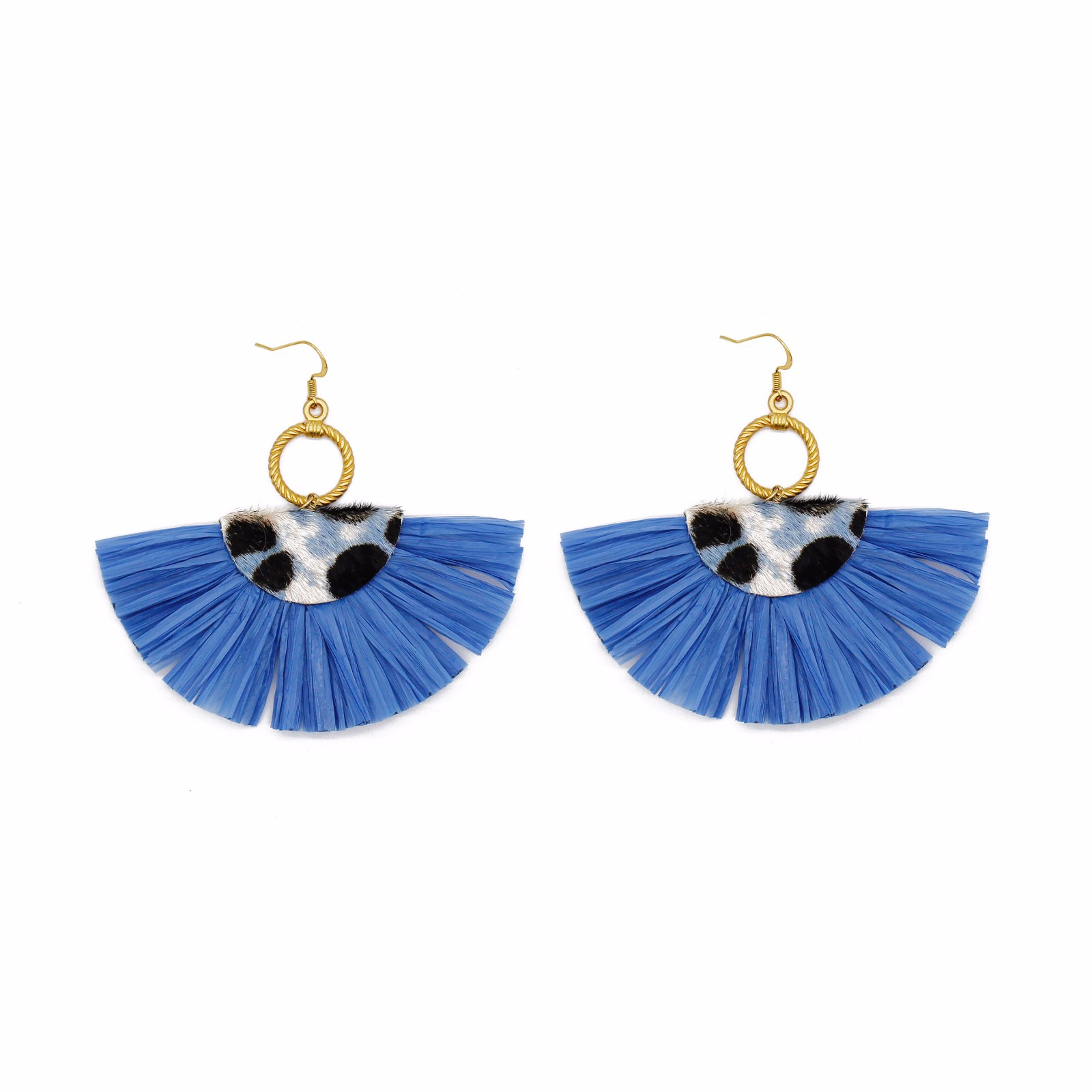 Wholesale jewelry Fan-shaped blue color raffia cowhide statement earrings with copper stud