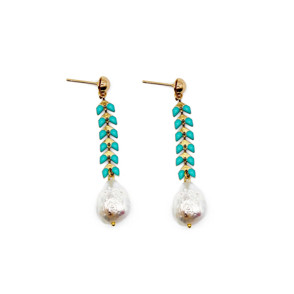 wholesale blue color handmade new design pearl beads earrings