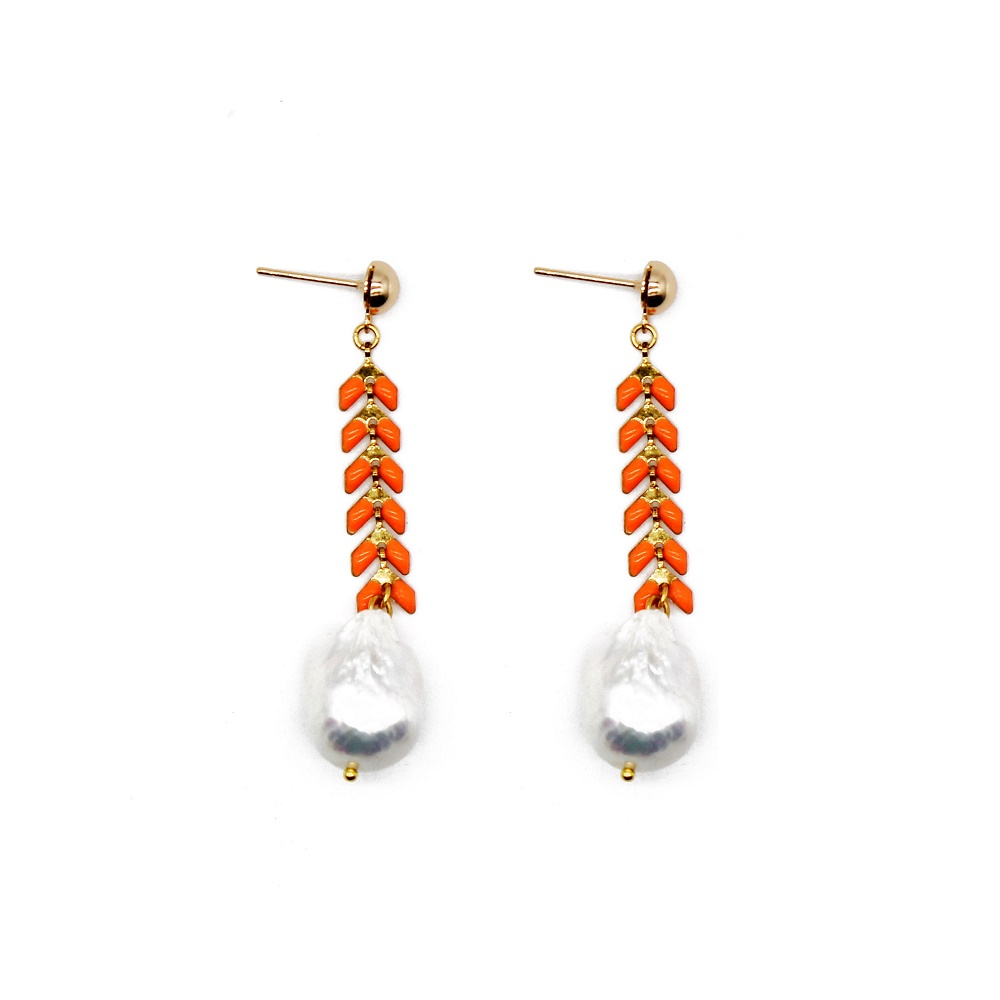 wholesale orange color handmade new design pearl beads earrings