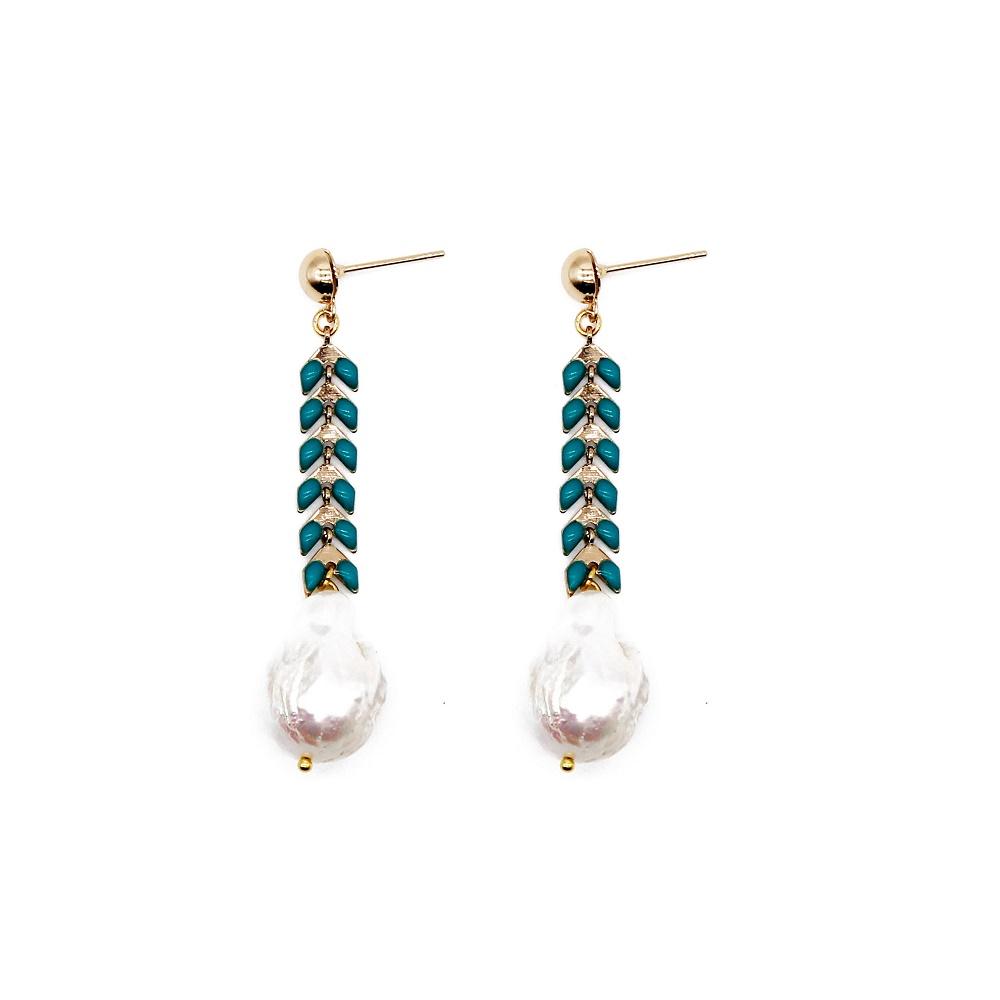 wholesale dark blue color handmade new design pearl beads earrings