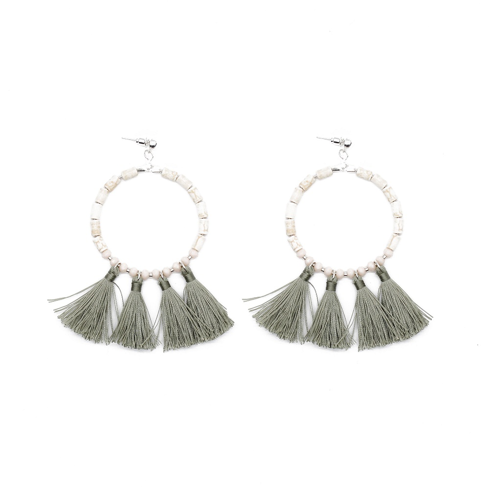 White Color Fantasy Beaded Gray Tassel Earrings for Women