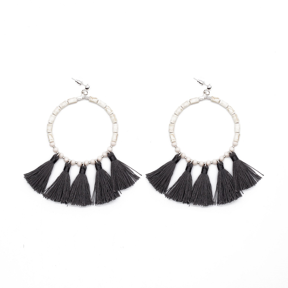 White Fantasy Beaded Black color Tassel Earrings for Women