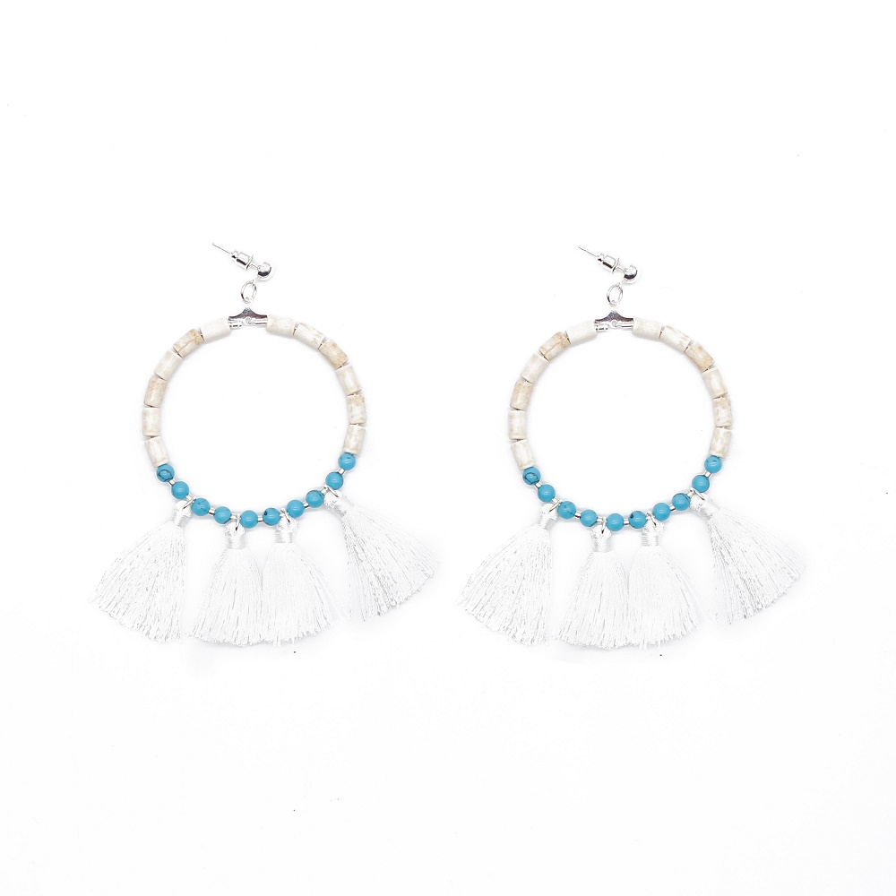 White and blue Color Fantasy Beaded white Tassel Earrings for Women