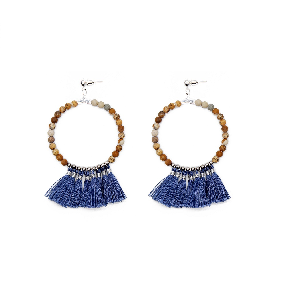 fashion handmade natural beads navy blue color tassel hoop earrings