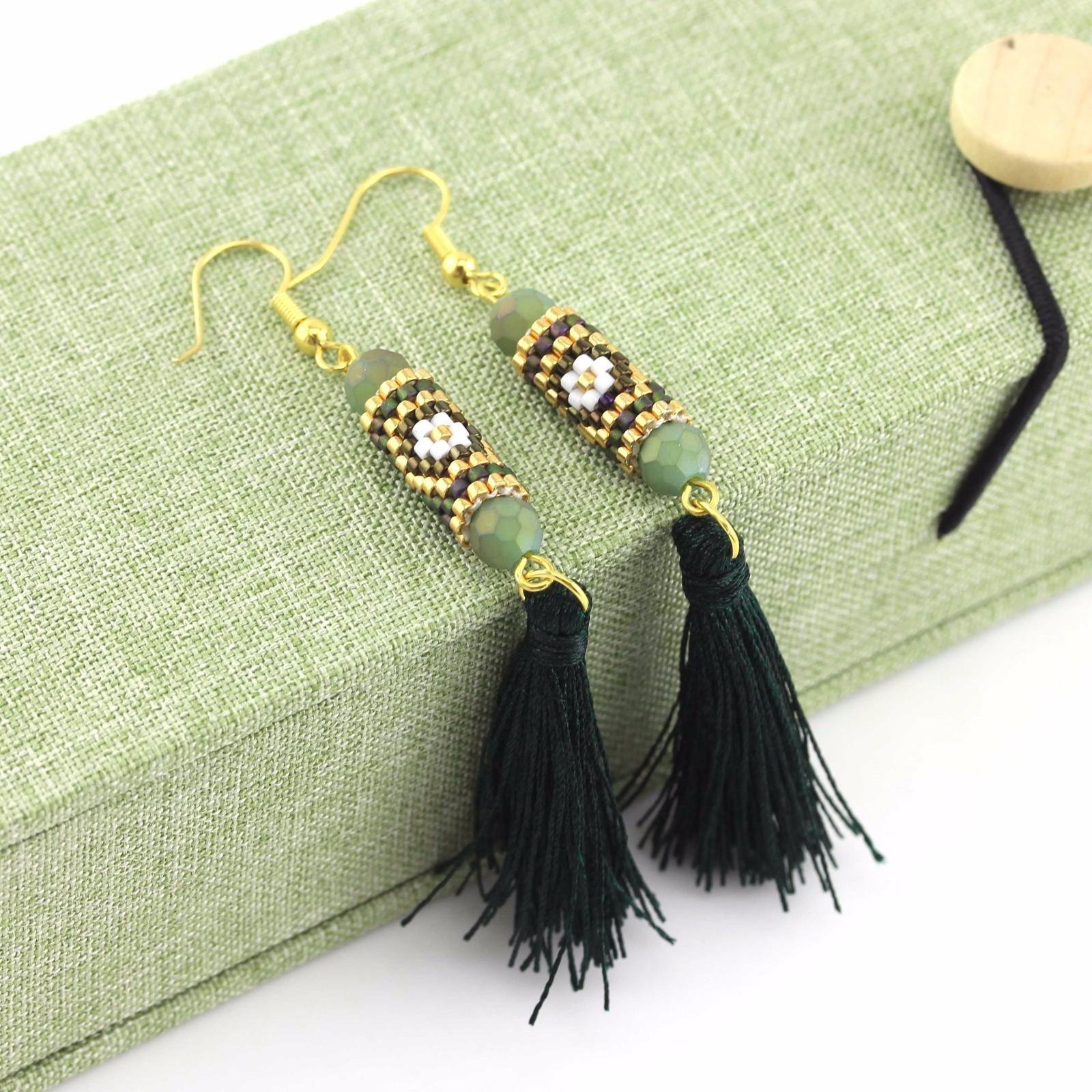 Green color Handmade Glass Beaded Jewelry of Miyuki Earrings