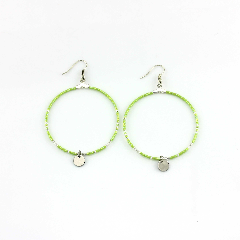 handmade jewelry grass green color miyuki beads hoop earrings