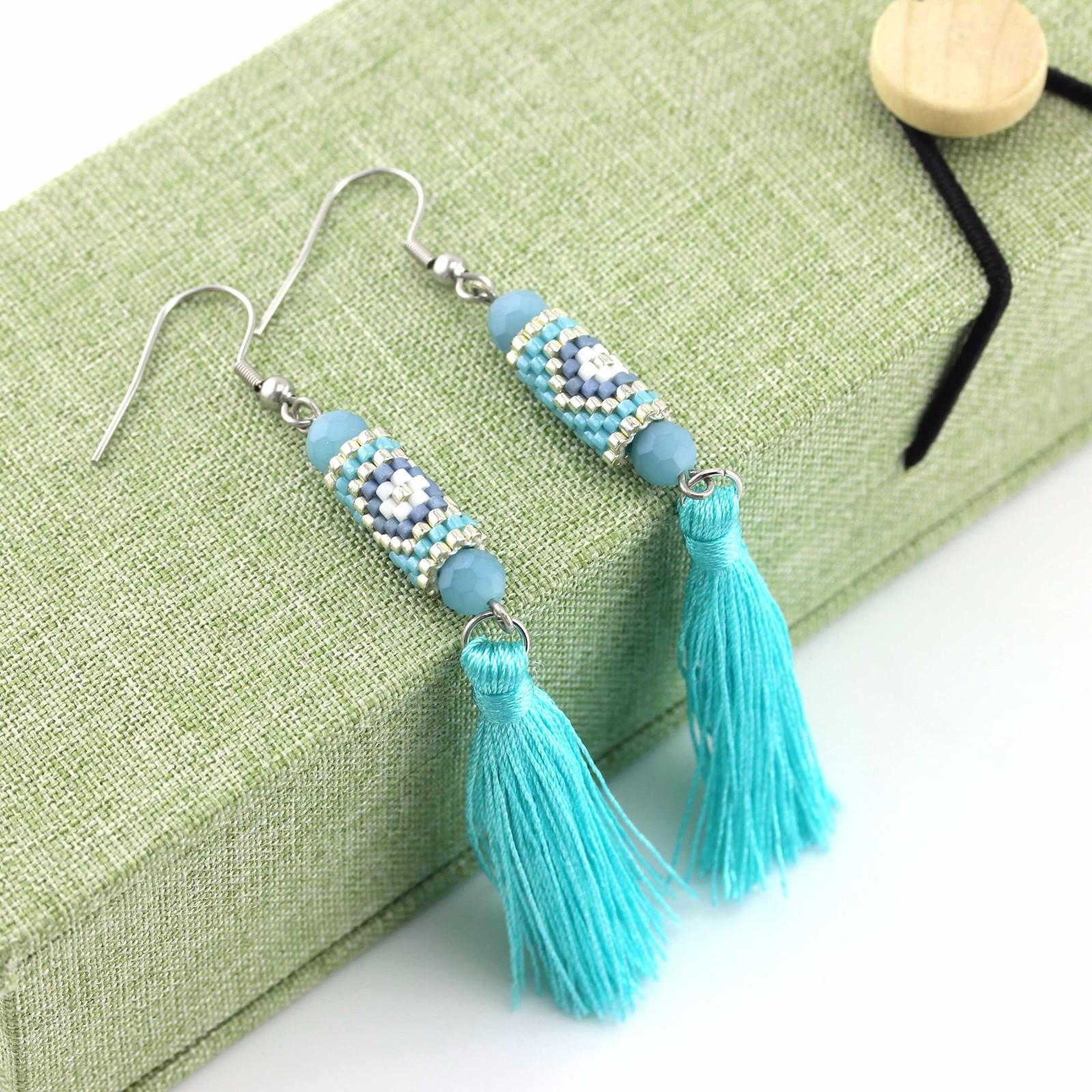 Sky blue color Handmade Glass Beaded Jewelry of Miyuki Earrings
