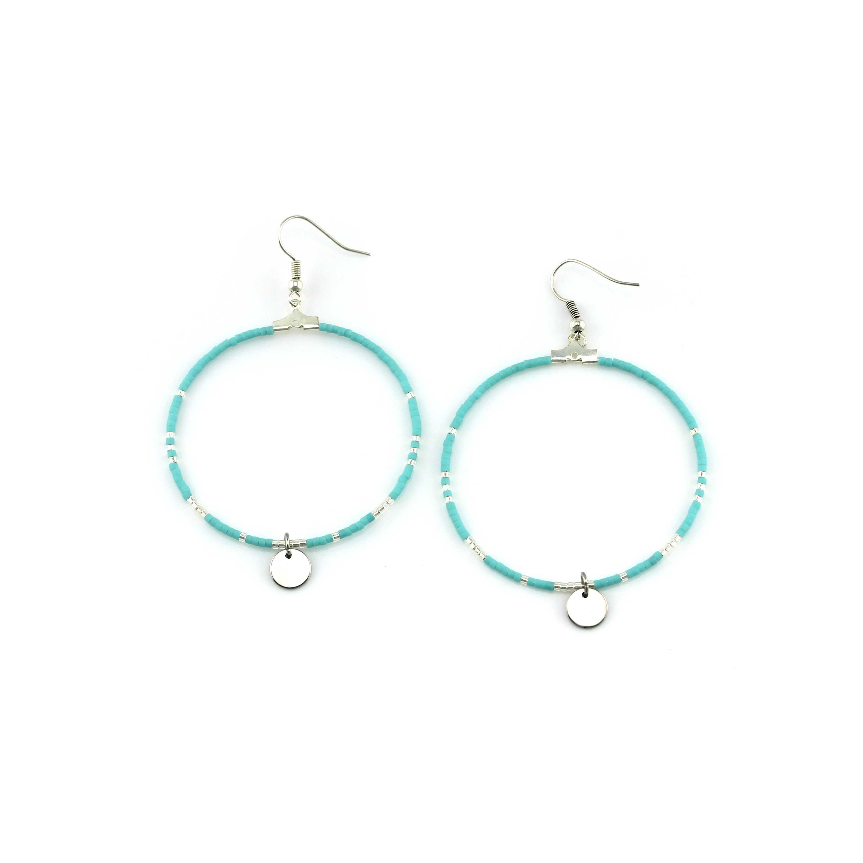 handmade jewelry sky blue color miyuki beads hoop earrings