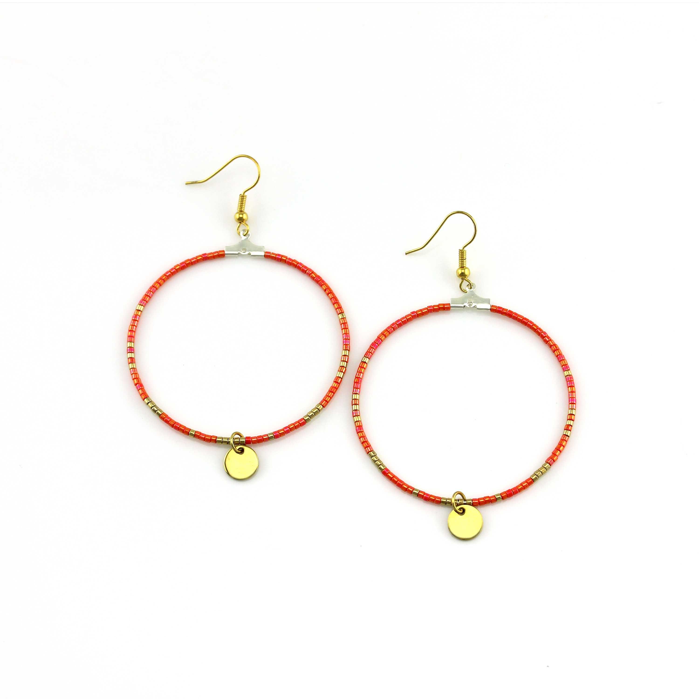 handmade jewelry orange color miyuki beads hoop earrings