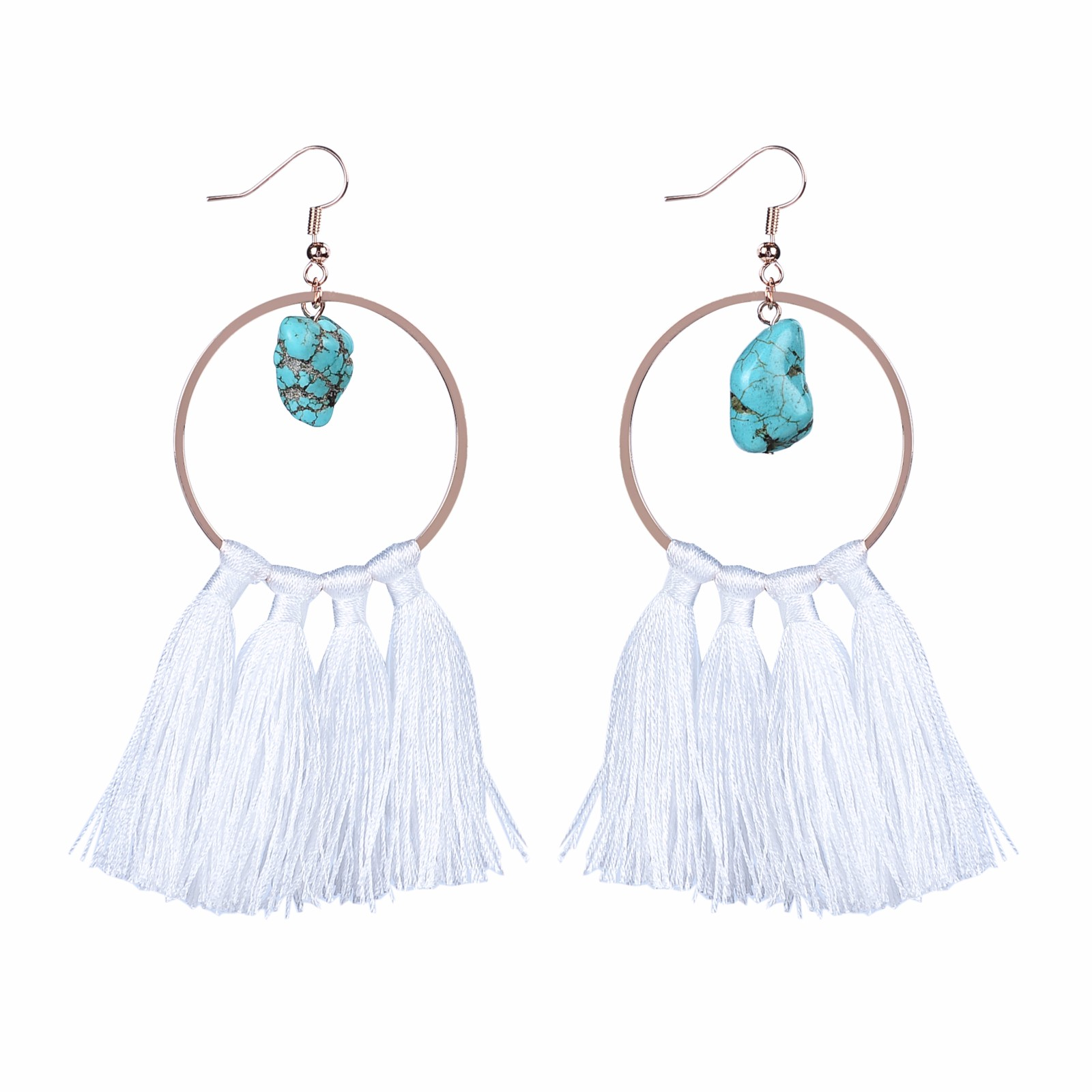 Handmade natural stone beads white color tassel hoop earrings
