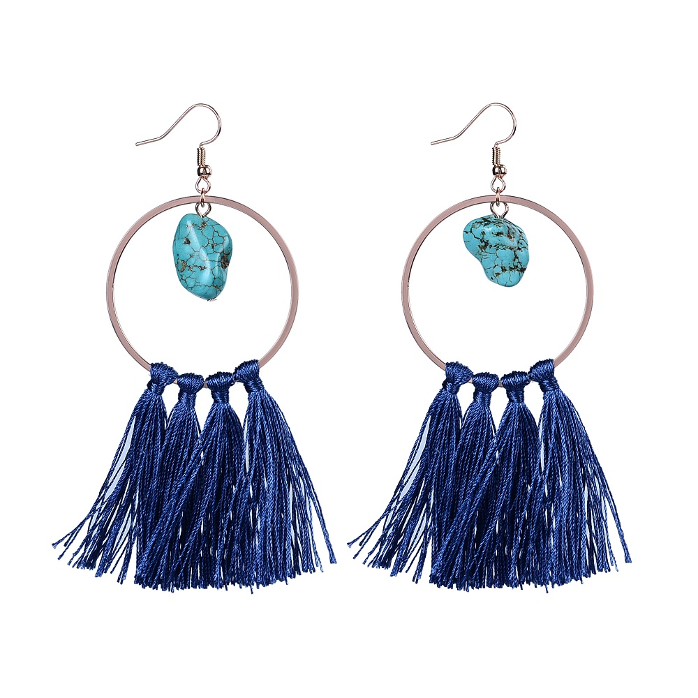 Handmade natural stone beads navy blue color tassel hoop earrings