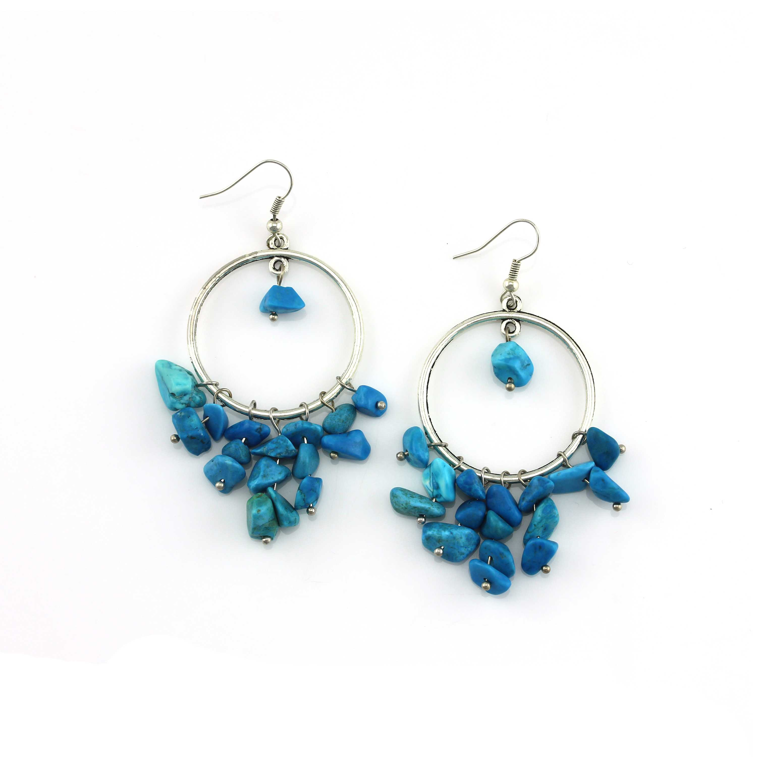 Handmade Blue color Natural stone beads hoop earrings