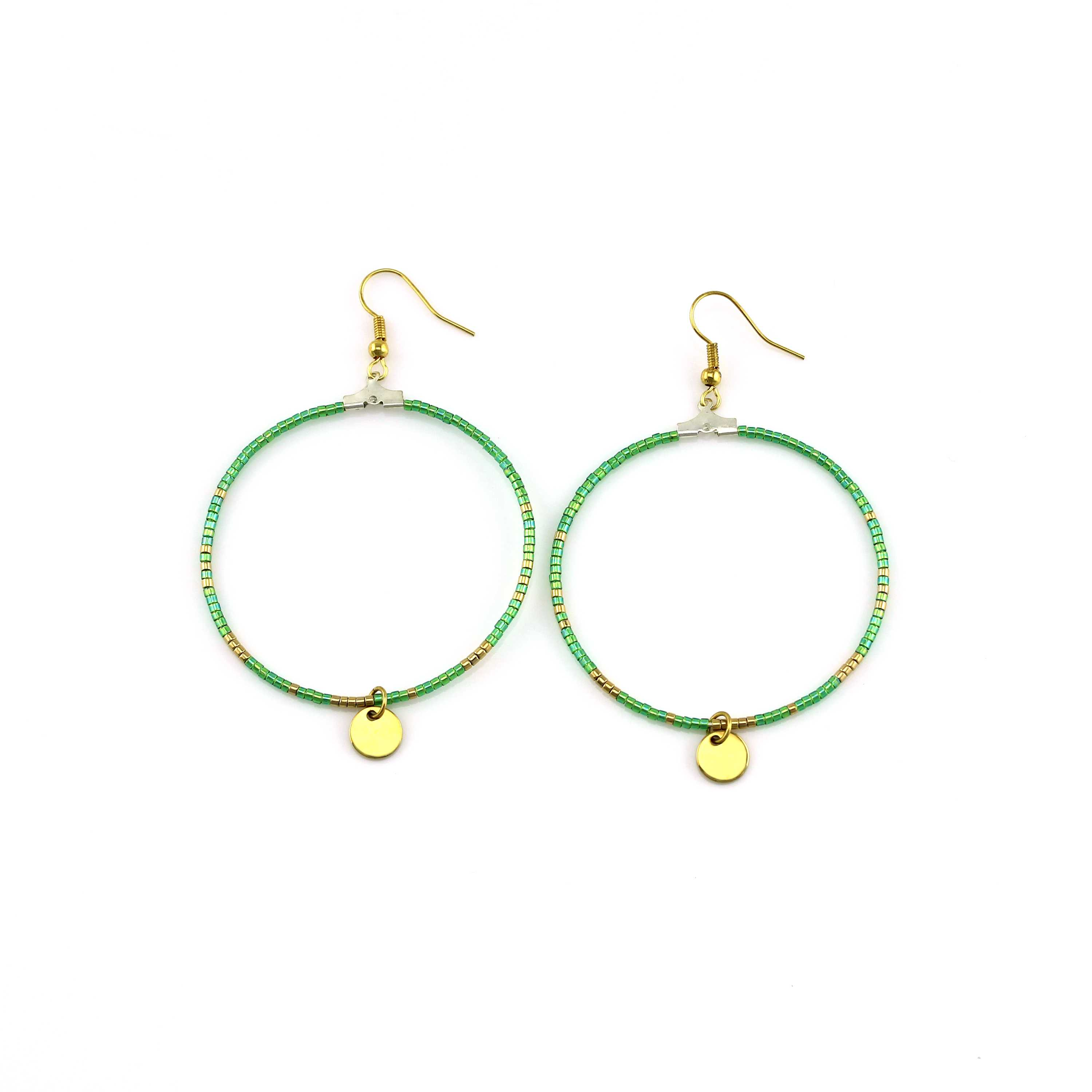 handmade green color miyuki beads hoop earrings
