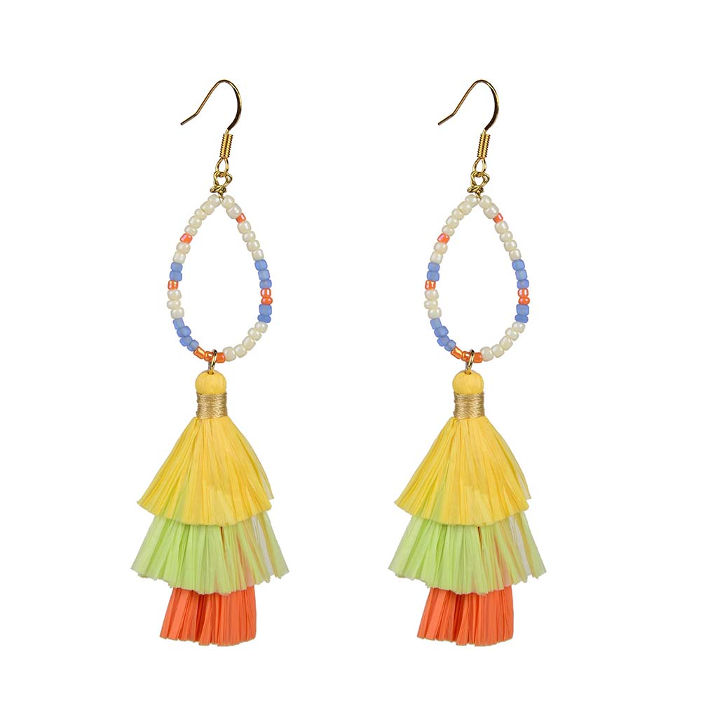 Wholesale Women Jewelry Lovely-Dress Style Yellow Colorful Raffia Earrings