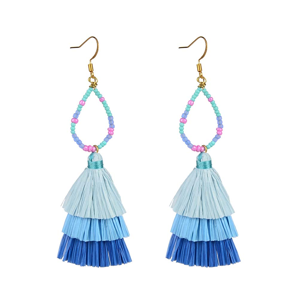 Wholesale Women Jewelry Lovely-Dress Style Blue Colorful Raffia Earrings