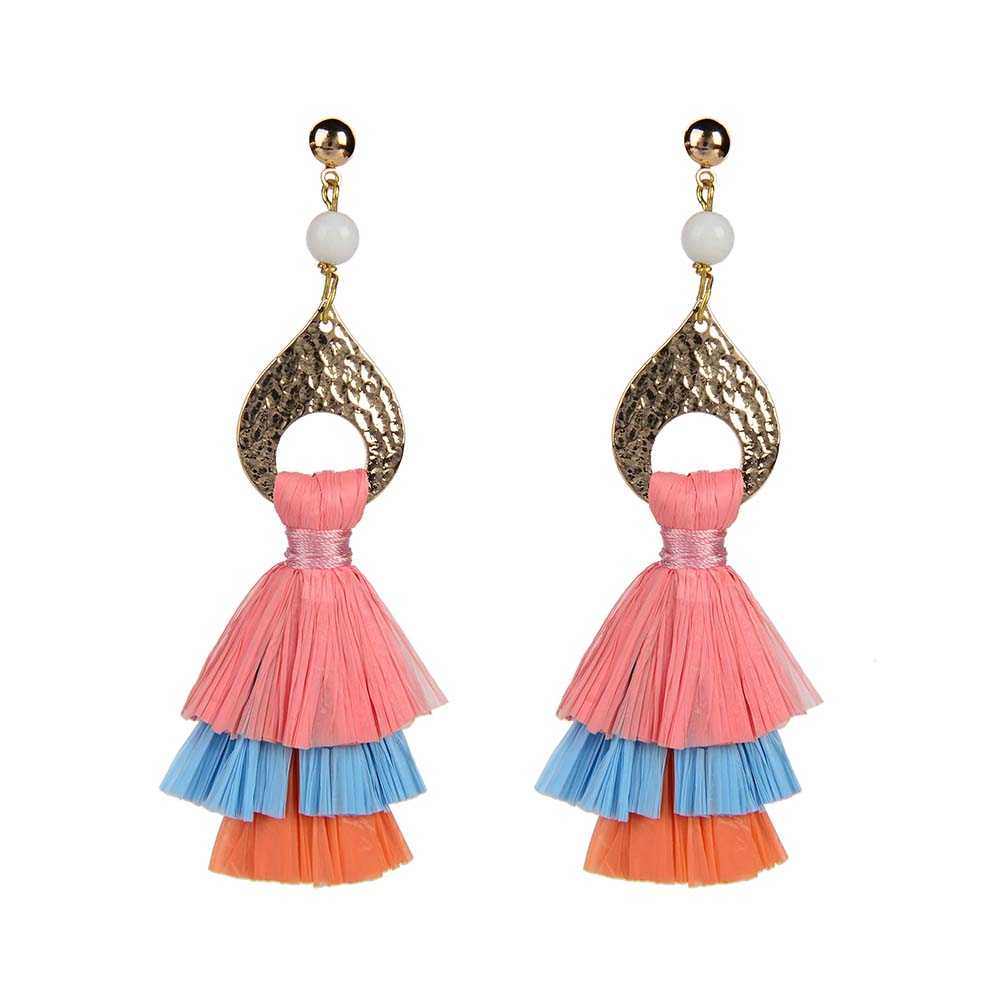 Wholesale Women Jewelry Lovely-Dress Style Red Colorful Raffia Pearl Earrings