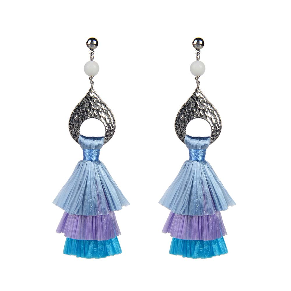 Wholesale Women Jewelry Lovely-Dress Style Blue Colorful Raffia Pearl Earrings