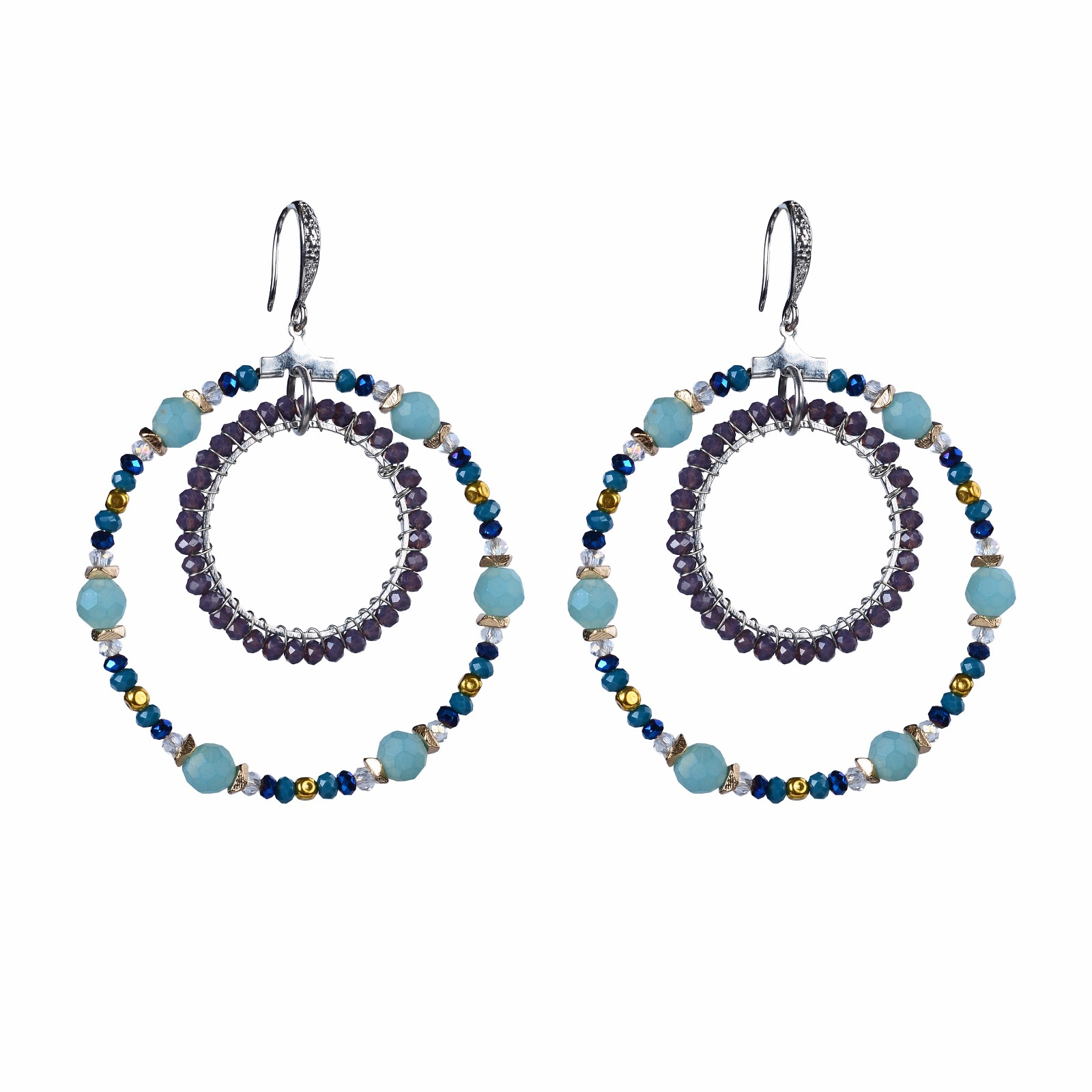 handmade delica beads concentric circles hoop earrings