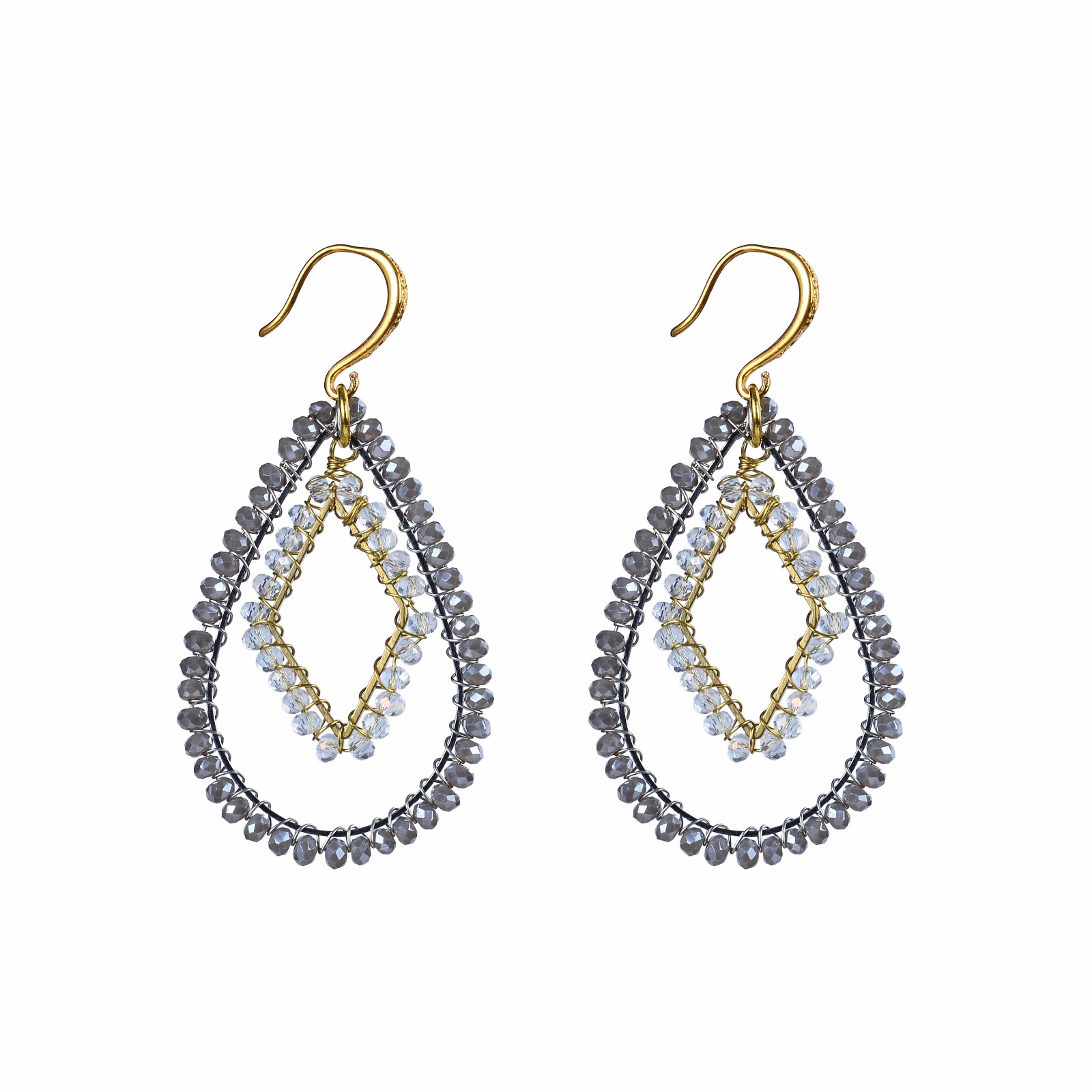 handmade jewelry gray and white crystal beads hoop earrings