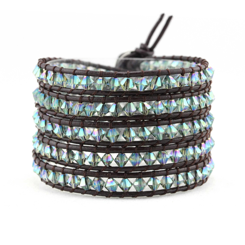 TTT Jewelry Crystal Handmade Bracelet with Crystal Beads & Genuine Leather Crystal Bracelet image42
