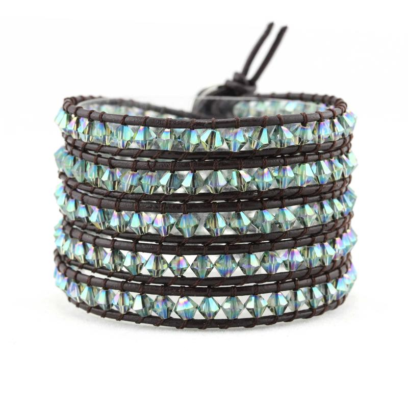 Crystal Beads Genuine Leather Wrap Handcrafted  Bracelet