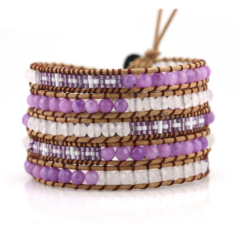 Miyuki Seed Beads and Stone Beads 5 Wraps Handcrafted Bracelet