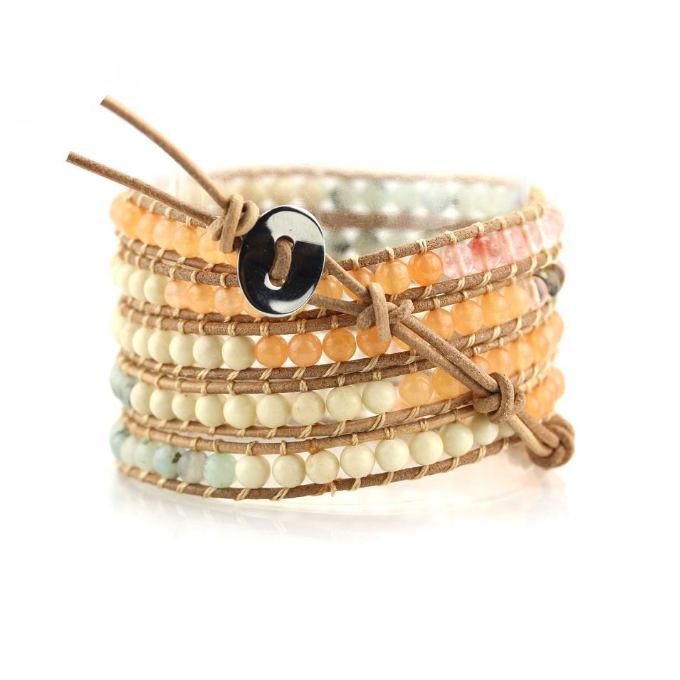 Natural Watermelon Skin Light Stone Bead 5 Wrap Handcrafted Bracelet