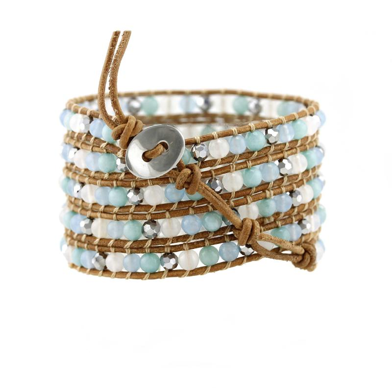 Crystal And Stone Beads Wrap Handcrafted Bracelet