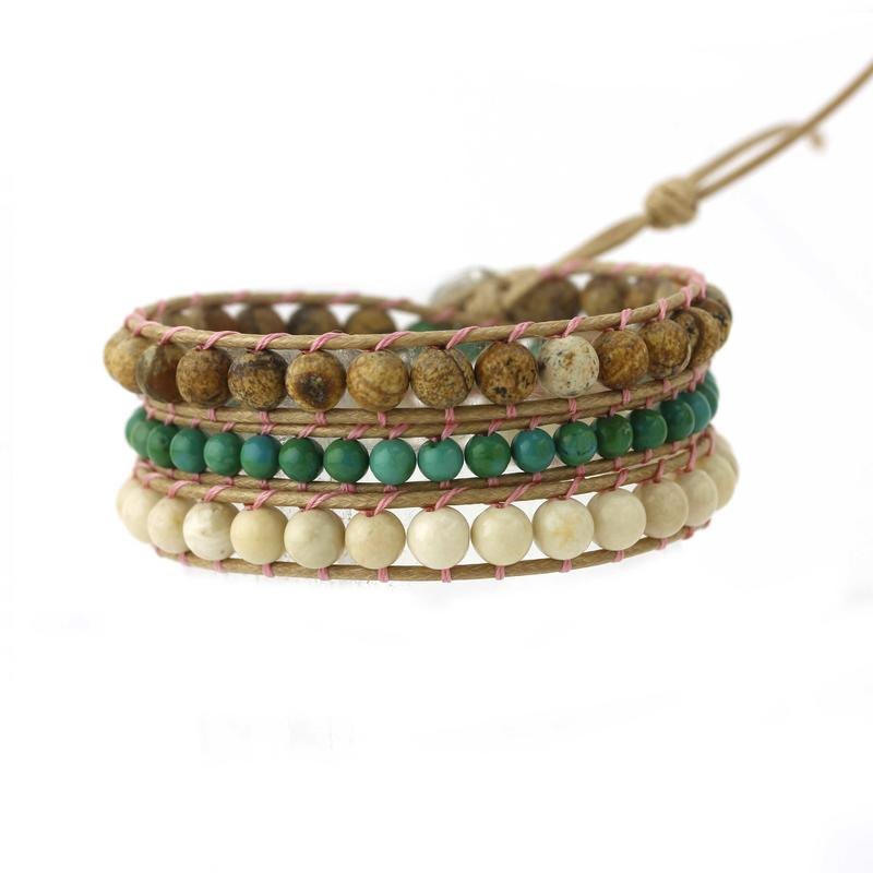 Natural Stone Beads Wrap Handmade Bracelet with Stainless Curved Clasp