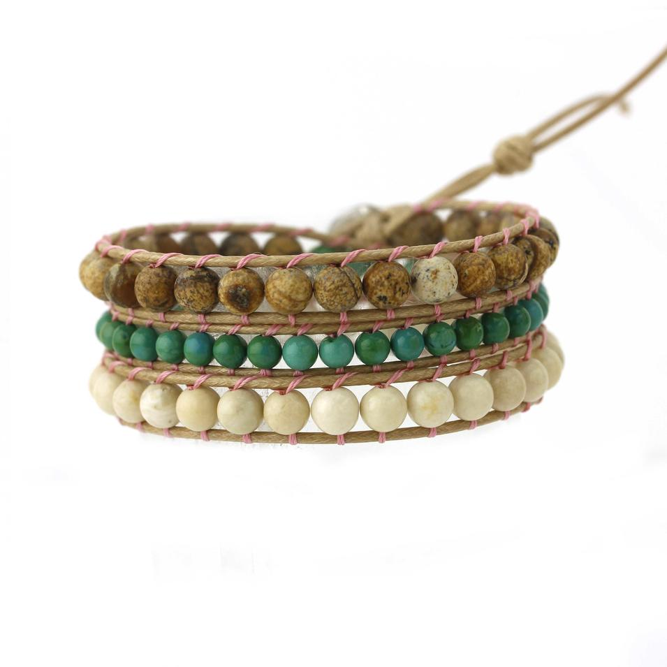 Adjustable Wax Cord Handmade Bracelet Charm with Stone