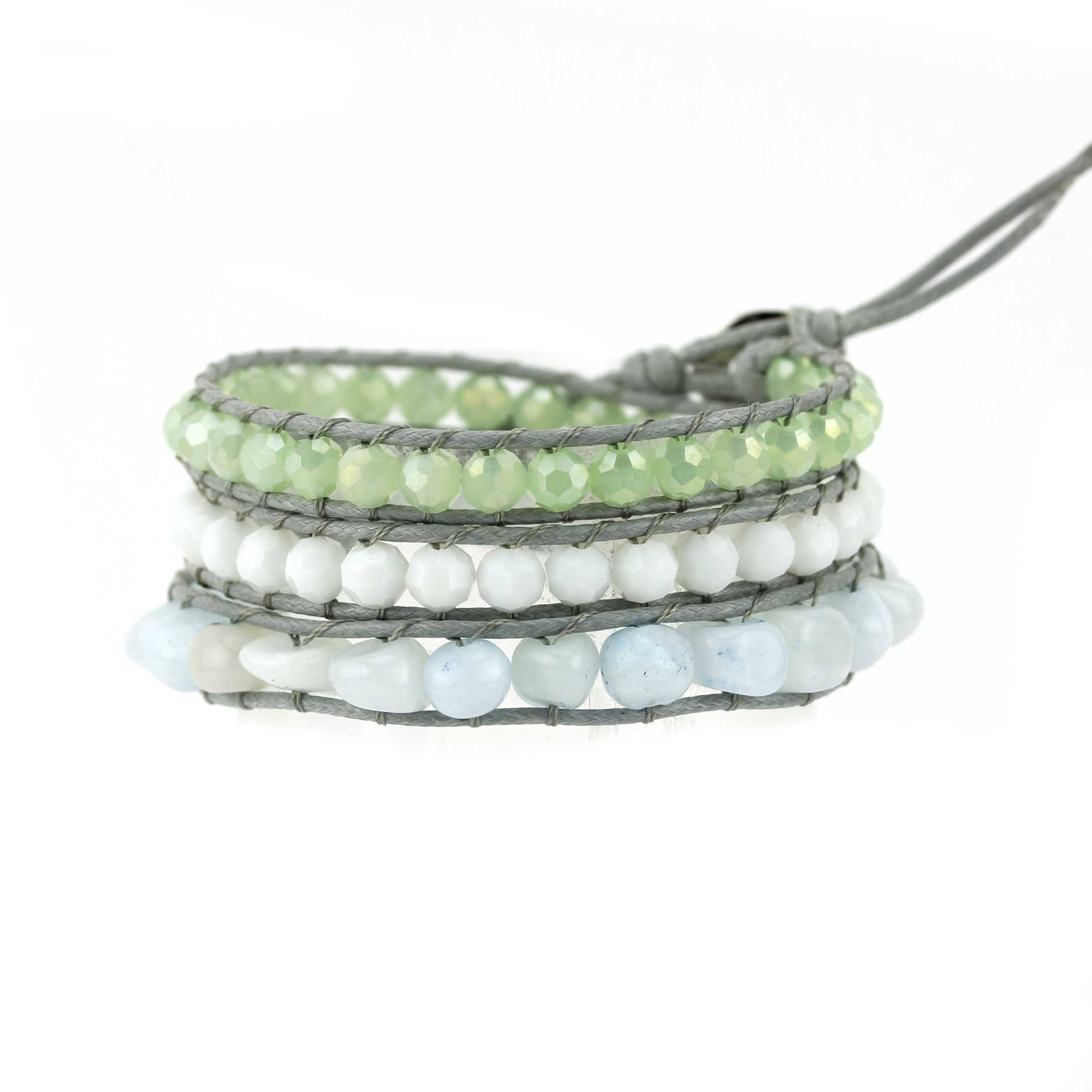 TTT Jewelry Crystal Beads & Natural Stone Beads Wrap Handmade Bracelet 3 Wraps image7