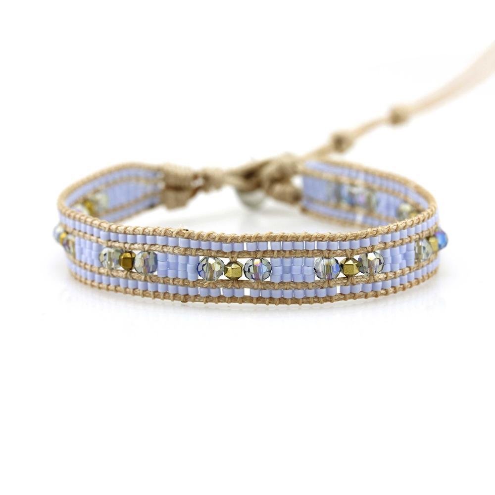 Miyuki Seed Beads and Crystal Beads 1 Wrap Handmade Bracelet