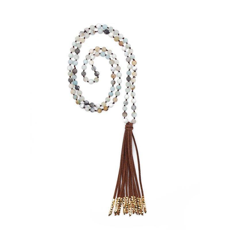 Velvet Tassel Mala Handmade Necklace with Alloy Accessories