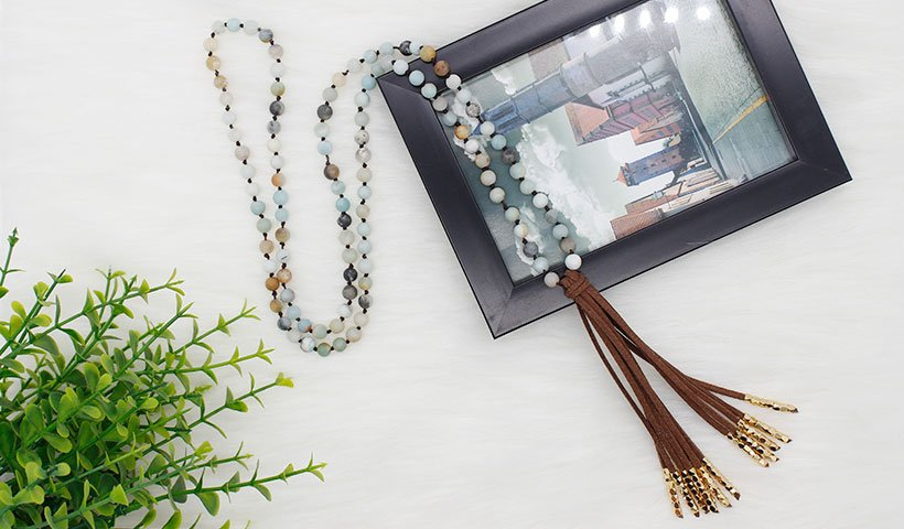 Velvet Tassel Mala Necklace with Alloy Accessories
