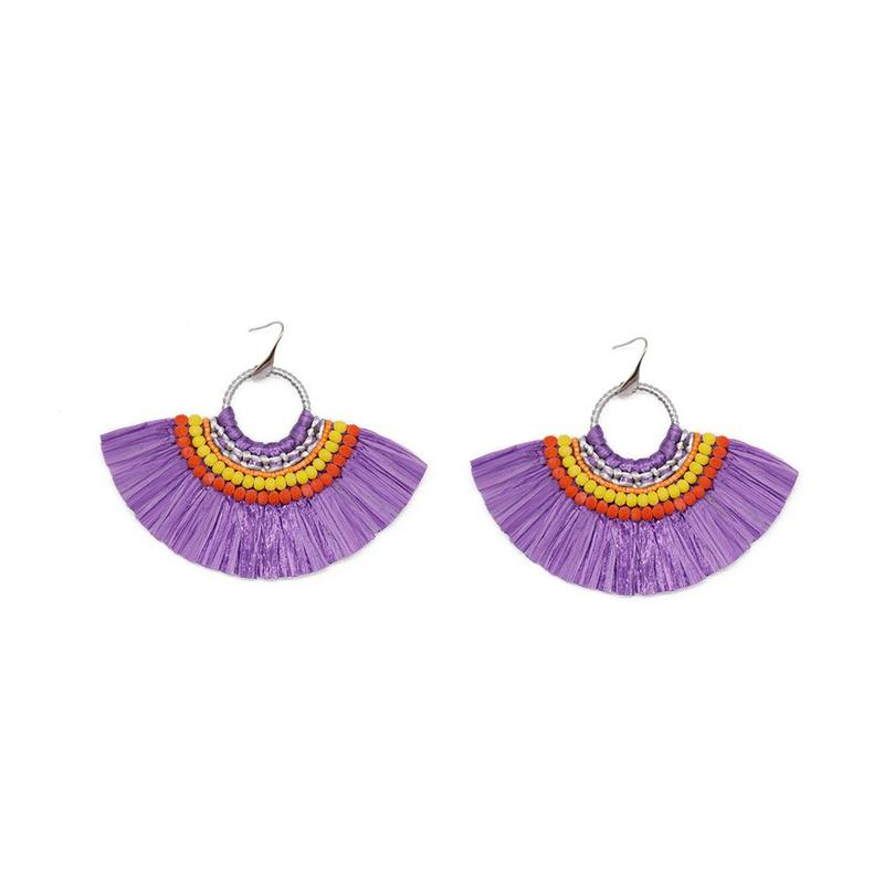 Fan-shaped Raffia Handcrafted Earrings with Bulk Raffia Grass