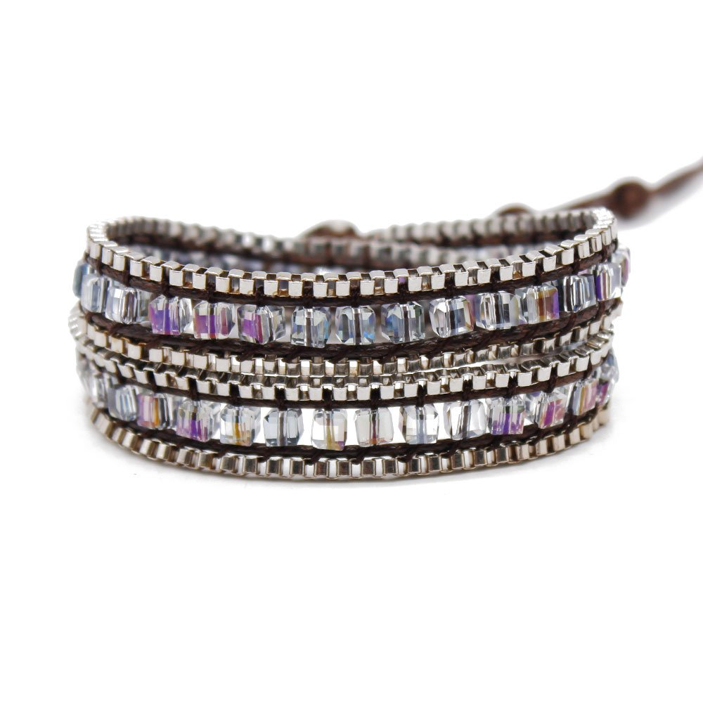 TTT Jewelry Square Crystal and Iron Chain Wrap Handmade Bracelet 2 Wraps image4