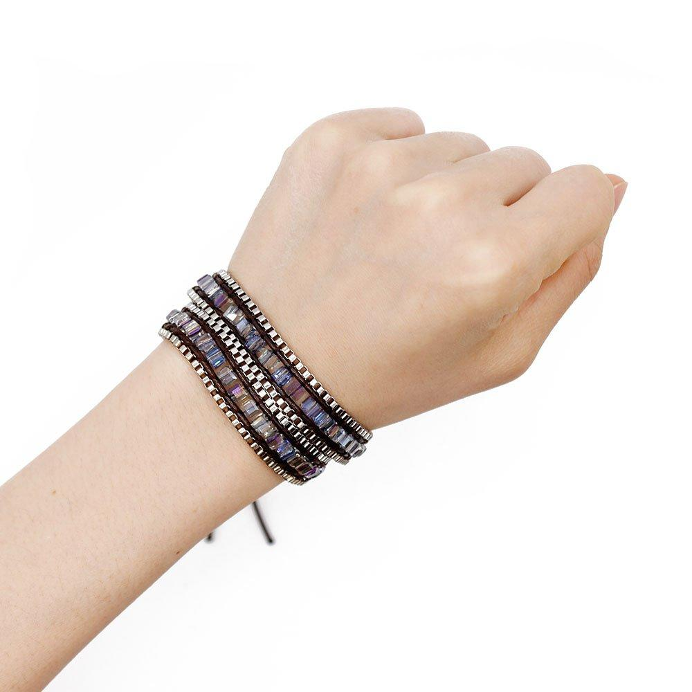 Square Crystal and Iron Chain Wrap Handmade Bracelet