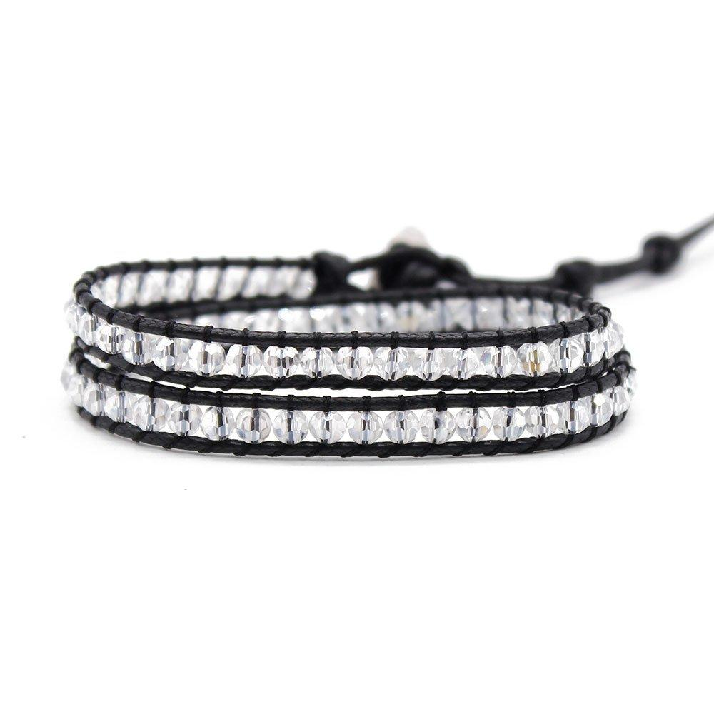 Crystal Beads Wrap Handmade Bracelet with Stainless Steel Clasp