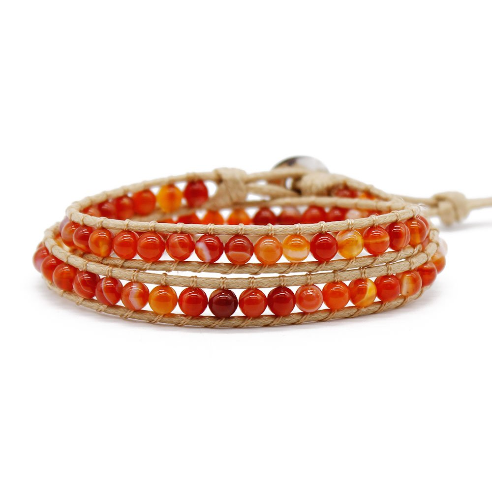 TTT Jewelry Stone Beads Natural Red Agate Wrap Handmade Bracelet 2 Wraps image2